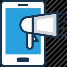 advert, announcement, marketing, mobile, smartphone icon