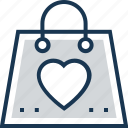 favorite, heart, love, romantic, tote bag icon