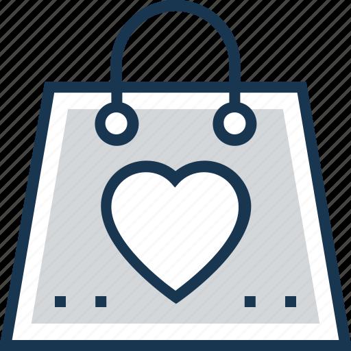 favorite, heart, love, romantic, tote bag icon