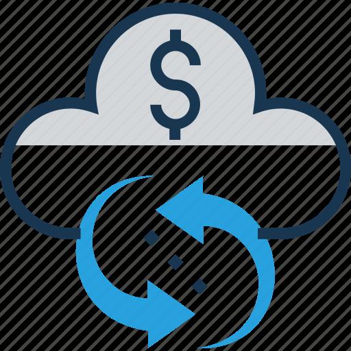 banking, cloud, dollar, finance, sync icon