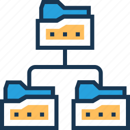data folder, folder, folder share, hierarchy, network icon
