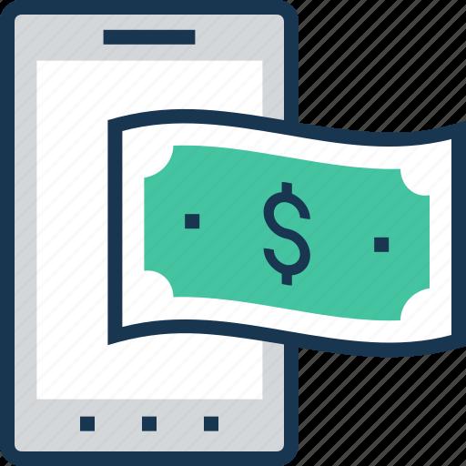 app, banking, e transaction, m commerce, paper money icon