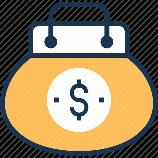 clutch purse, dollar, handbag, purse icon