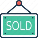 hanging sign, info, shop, sold, sold signboard icon