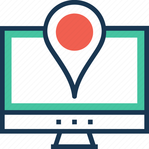 location, map pin, navigation, online map, pointer icon