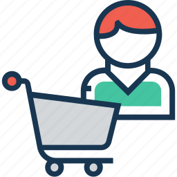 buyer, cart, purchaser, shopping, trolley icon