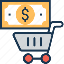 cart, dollar, e commerce, shopping, trolley icon