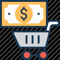 cart, dollar, e commerce, shopping, trolley icon