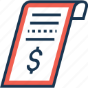 bill, dollar, payment, receipt, voucher icon