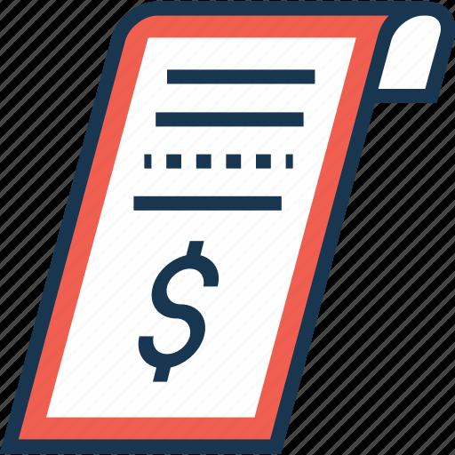 bill, dollar, payment, receipt, voucher icon