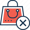 bag, cancel, cancel shopping, close, delete icon