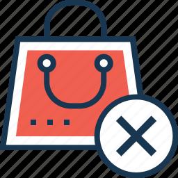 bag, cancel, cancel shopping, close, delete icon