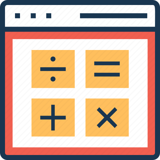 calculation, finance, online, web, webpage icon