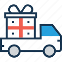 delivery, gift, shipping, truck, van icon