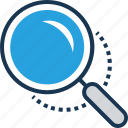 glass, magnifier, magnifying glass, searching, zoom icon