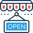 hanging sign, open, open shop, open signboard, shop sign icon