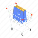 ecommerce, handcart, pushcart, shopping cart, shopping trolley icon