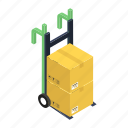 cart, handcart, luggage cart, luggage trolley, pallet, pushcart icon