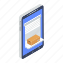mobile delivery, mobile package, mobile parcel, online order, order booking icon