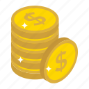 capital, coins stack, currency coins, dollar coins, money stack icon
