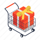 buy gift, ecommerce, gift shopping, handcart, pushcart, shopping cart, shopping trolley icon