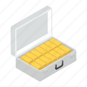 gold asset, wealth, gold reserve, gold stack, gold bricks, gold biscuits icon