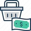 banknote, basket, dollar, paper money, shopping icon