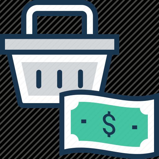 banknote, basket, dollar, paper money, shopping icon