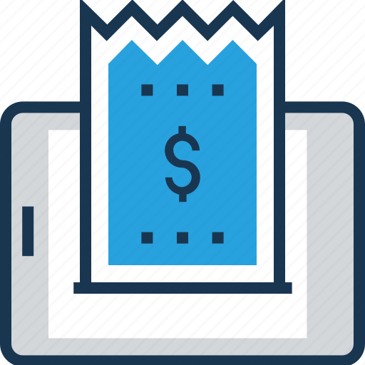 bill, mobile receipt, payment, voucher, withdrawl icon