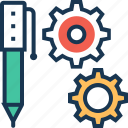 cogwheel, composing, gearwheel, pen, pencil icon