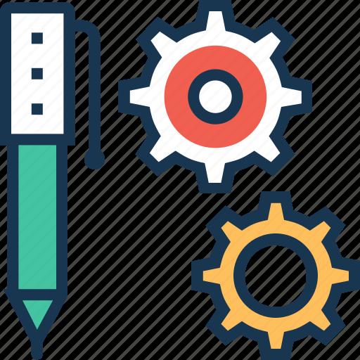 cogwheel, composing, gearwheel, pen, pencil icon