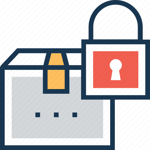 box, locked, package, secure shipping, shipping icon