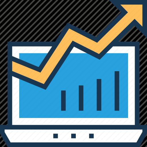 graph, growth, laptop, online graph, seo graph icon