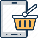 basket, m commerce, mobile, shopping, shopping basket icon