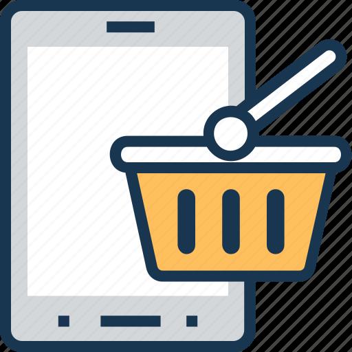 basket, m commerce, mobile, shopping, shopping basket icon