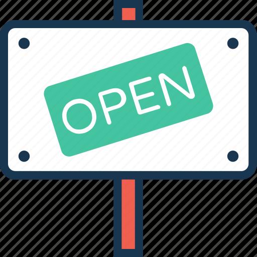 billboard, board, open, open store, signboard icon