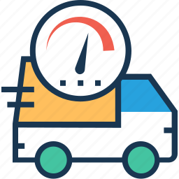 delivery, delivery time, shipping, truck, van icon