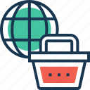 basket, global, item, shopping, worldwide icon