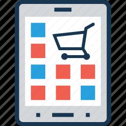 buy online, cart, m commerce, menu, shopping icon