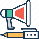 advert, bullhorn, loud hailer, megaphone, pencil icon