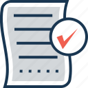 approved, checked, composing, list, paper icon