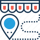 distance, map pin, navigation, shop distance, travel icon