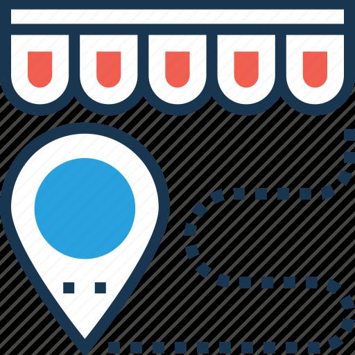 distance, map pin, navigation, shop distance, travel icon