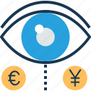 analysis, euro, finance, view, yen icon