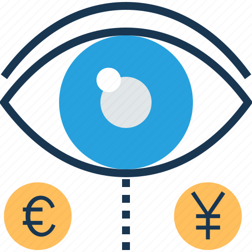 analysis, euro, finance, view, yen icon