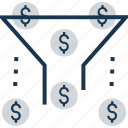 conversion marketing, filtration, funnel, money filter, sales funnel icon