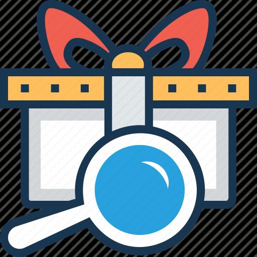 box, gift, present, present box, search gift icon