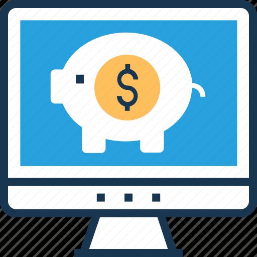 banking, business, monitor, piggy bank, savings icon