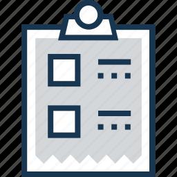 checklist, clipboard, order, task, to do icon