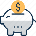 cash bank, dollar, money bank, money box, piggy bank icon